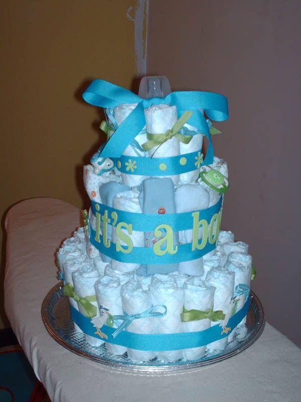 diaper cakeBaby Cake, Baby Shower Ideas, Shower Baby, Diapers Cake, Shower Theme, Baby Boys Shower, Boys Baby Shower, Baby Shower Cake, Baby Shower