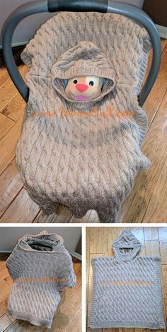 Free Knitting Pattern for Baby Poncho Blanket - Little Mouse Carseat Poncho is a cabled baby blanket with hood that can be used as a poncho, car seat cover with or without hood, or blanket. Designed by Weiyan Huang