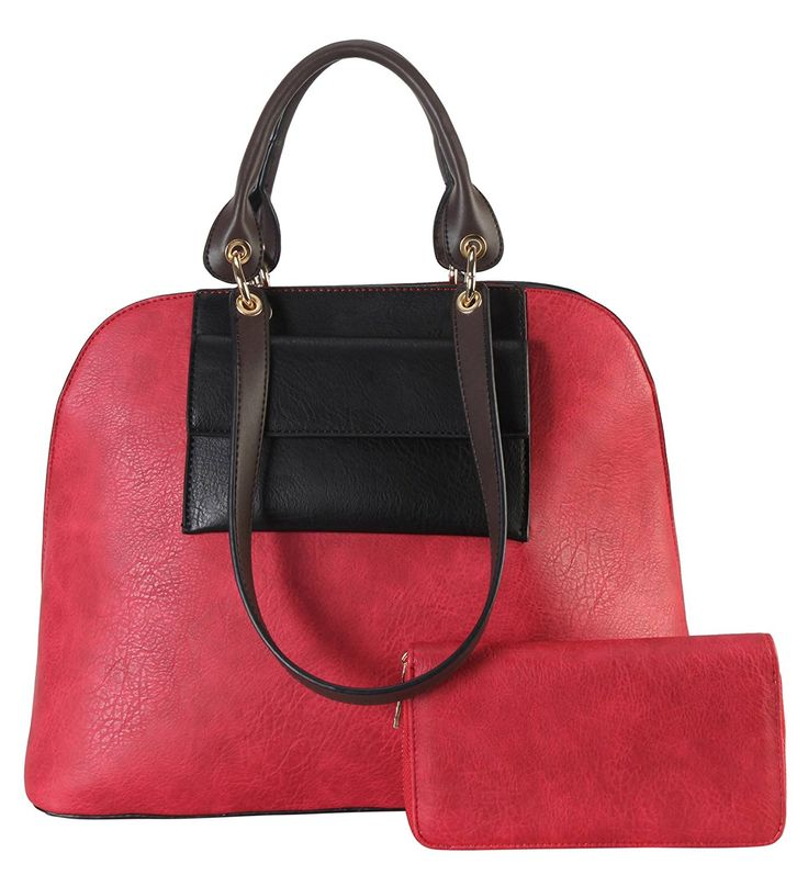 Diophy PU Leather Front Pocket Two Tone Bag in Bag Top Handle Tote Accented with Wallet 2 Pieces Set Womens Purse Handbag MY-3421 * Check out this great image     - amazon affiliated pin