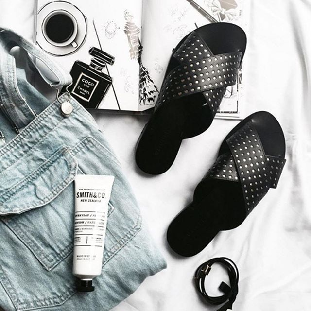 Summer essentials via @angiesilvy featuring our Studded Slides, now on sale. #witcherystyle