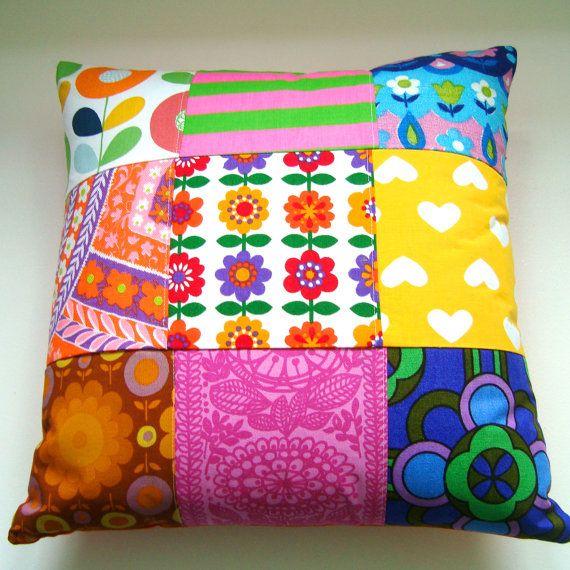 Large Vintage Retro Patchwork Cushion / Pillow by madebylisajane,