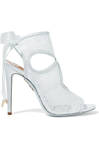 Aquazzura - Sexy Thing Leather-trimmed Cutout Lace Sandals - White - IT38.5
