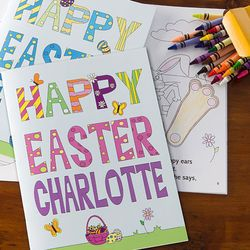 Personalized Easter Coloring Book Crayon Set