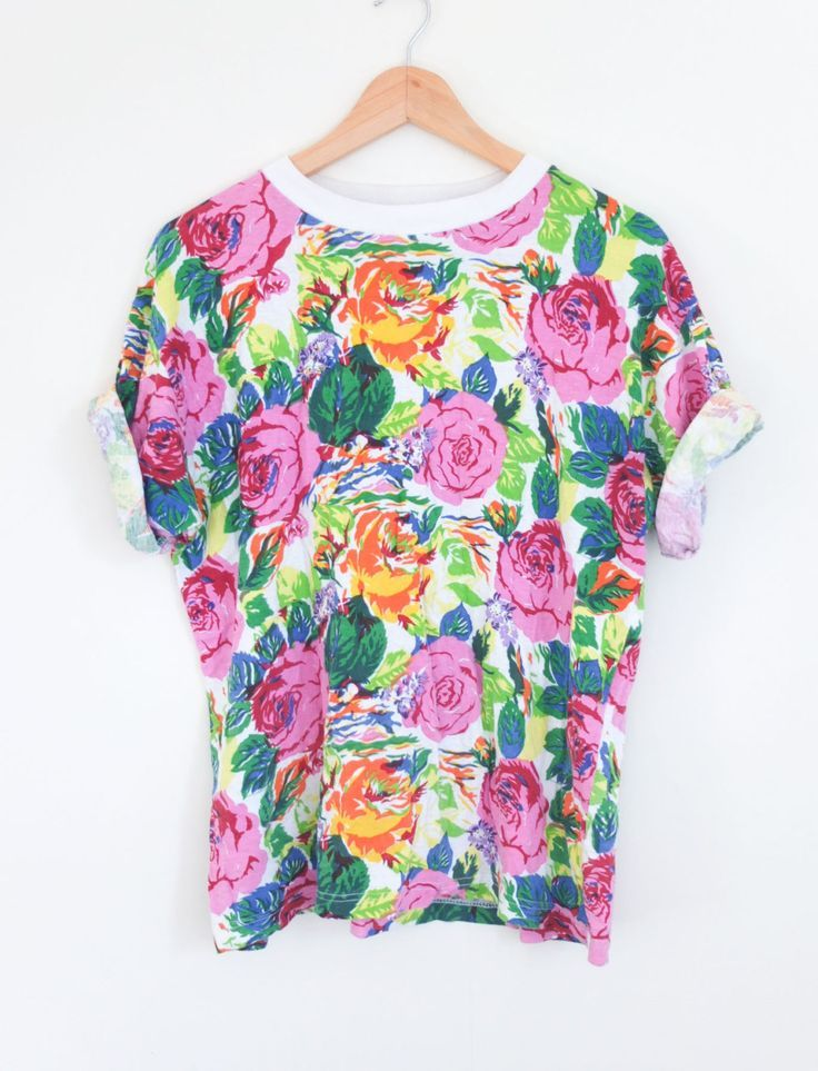 Vintage 90's Multi Colour Floral Rose Print Grunge Festival Crew T Shirt Tee Size M by WilderPeople on Etsy