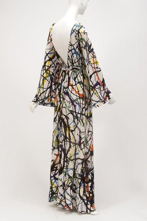 Halston channels Jackson Pollock! (Dress, 1969,The Goldstein Museum of Design)