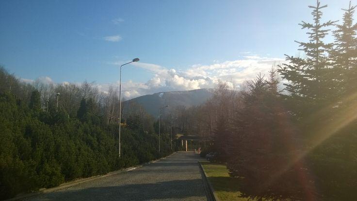 I wyszło nam wiosenne słoneczko! Widok na Czantorię - oszałamiający! :)