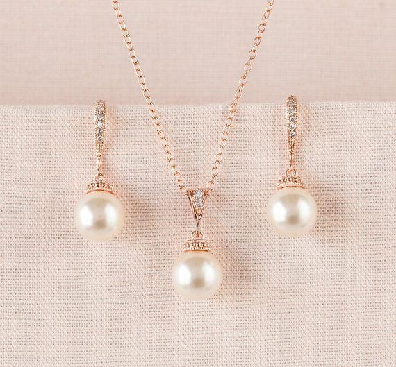 Rose Gold Bridal Schmuck-SET, Swarovski Hochzeit Schmuck, Classic Pearl Hochzeit Schmuck, Hochzeit Halskette, Pearl Drop Bridal SET