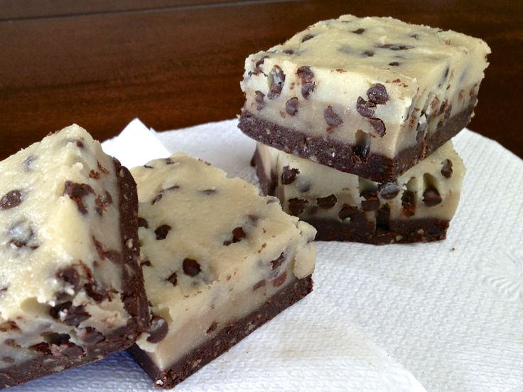 Raw, No Bake Chocolate Chip Cookie Dough Brownie