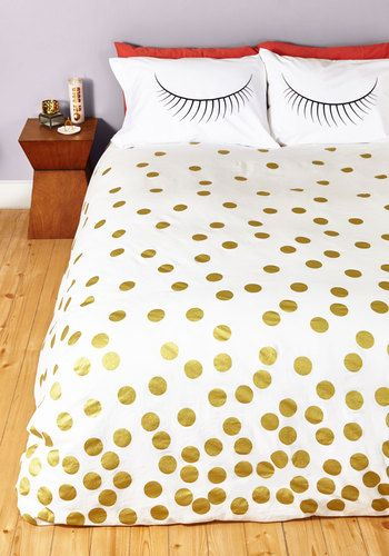 Sleeps and Bounds Duvet Cover in Full/Queen - Gold, Best, Cotton, Woven, White, Polka Dots, Exclusives