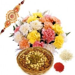 Carnation with Dryfruits  Rakhi & 1kg Dry Fruits   Are you planing to celebrate this raksha bandhan. And want to buy special rakhi gifts for your borther or sister then gintsnfashion offers you special rakhi gifts