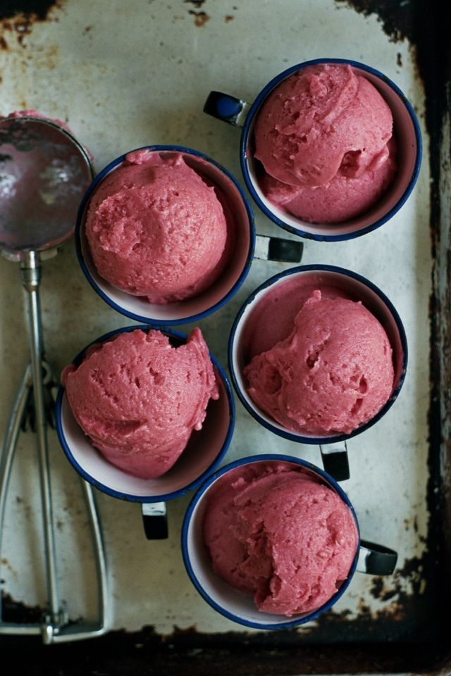 rhubarb and gin sorbet with rose cream | apt 2b baking co