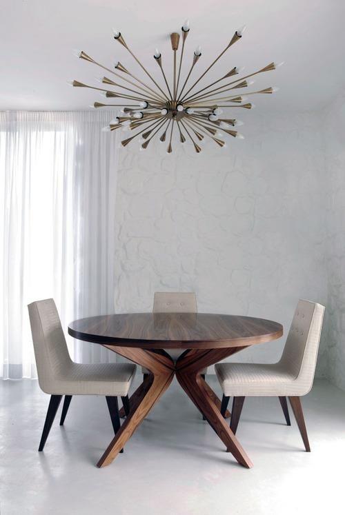 midcentury modern furniture and sputnik chandelier. by Dianna Karvounis and Vivian Philippa.  http://www.rameshwaramarts.co.in/interior-design.php