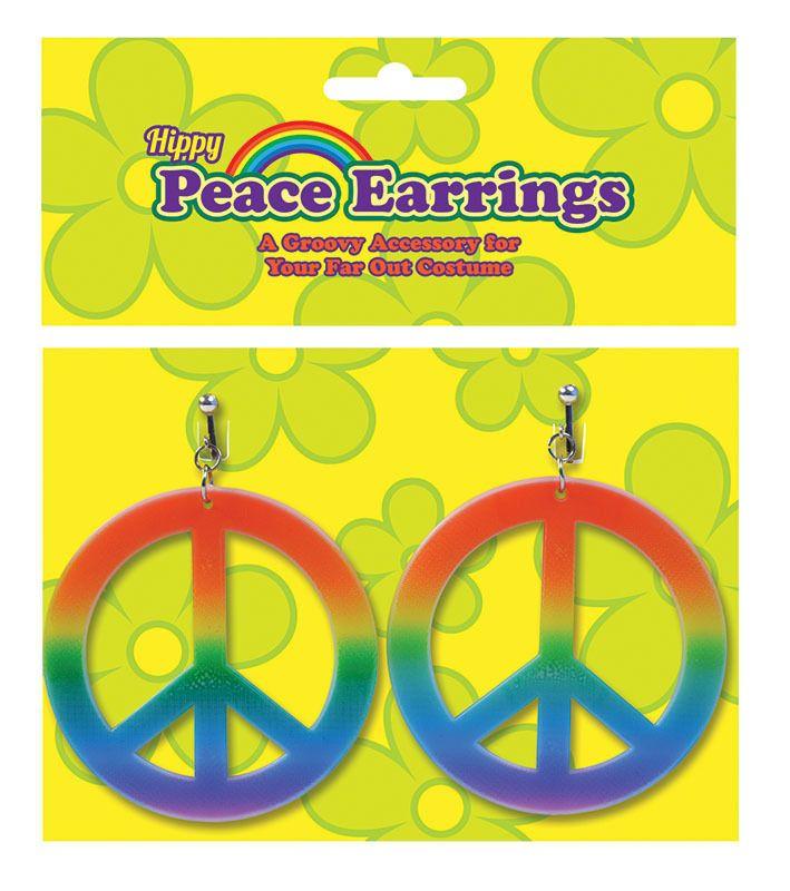 Peace Sign Hippie Earrings 1960s 1970s Clip On Rainbow Hippy Fancy Dress #BristolNovelty
