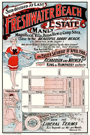 Freshwater Beach, Manly Sydney, Australia. Early Township Plans. 1908 http://www.vintagevenus.com.au/products/vintage_poster_print-tv817