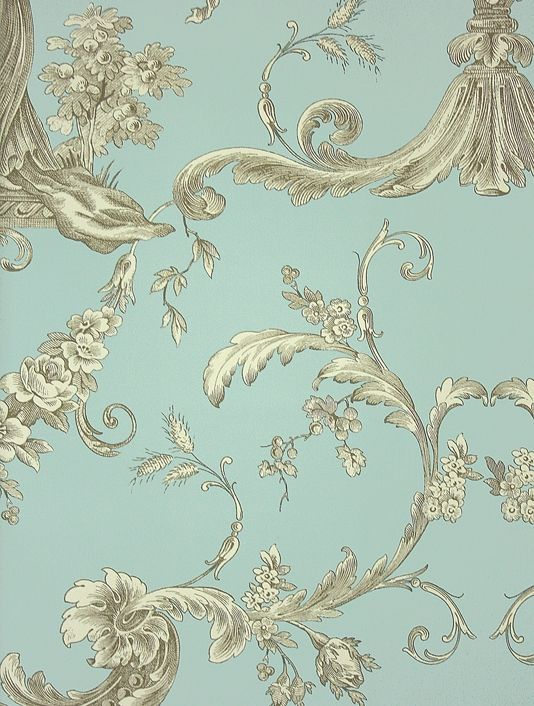 Biltmore Wallpaper An elegant toile wallpaper in a golden yellow on turquoise.