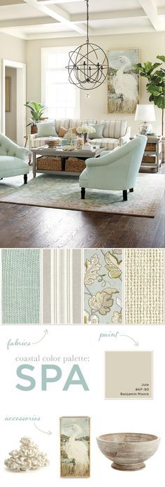 Spa Color Palette in Coastal Theme - How to Decorate by Ballard Designs