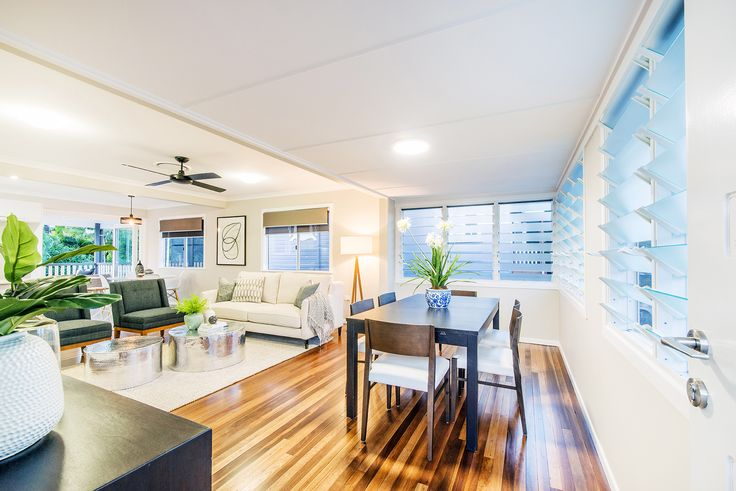 TARRAGINDI 23 Prior Street...The hub of this family home offers open plan living with polished hardwood timber flooring and a gourmet kitchen set to impress the home chef.