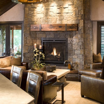 Railroad tie mantle with iron accents...LOVE