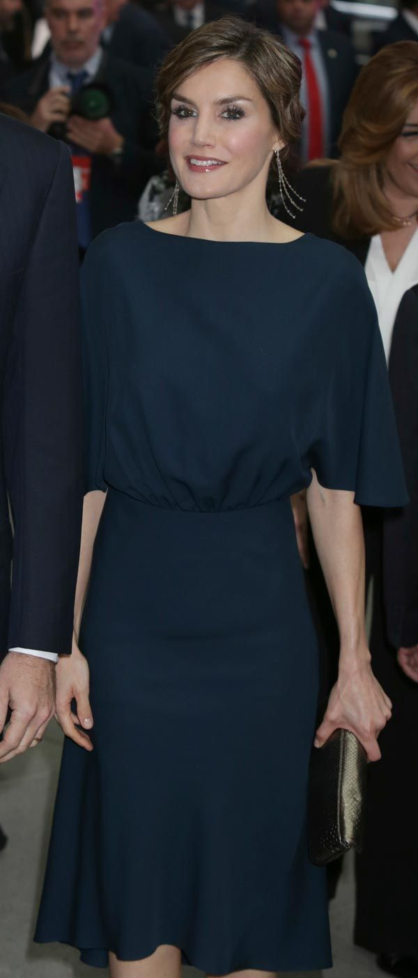 Doña Letizia. The earrings are reportedly a bespoke version of these black diamond string earrings by TOUS (€5,274).