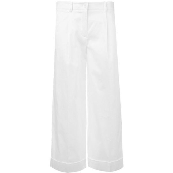 P.A.R.O.S.H. Straight Cropped Trousers ($191) ❤ liked on Polyvore featuring pants, capris, cropped capri pants, white cropped trousers, straight pants, cropped trousers and white trousers