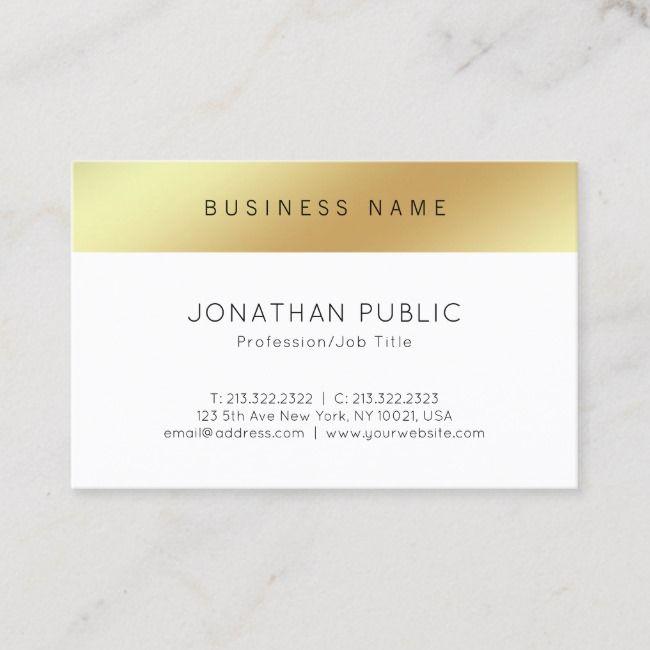 Stylish Minimalist Modern Chic Gold Top Smart Business Card