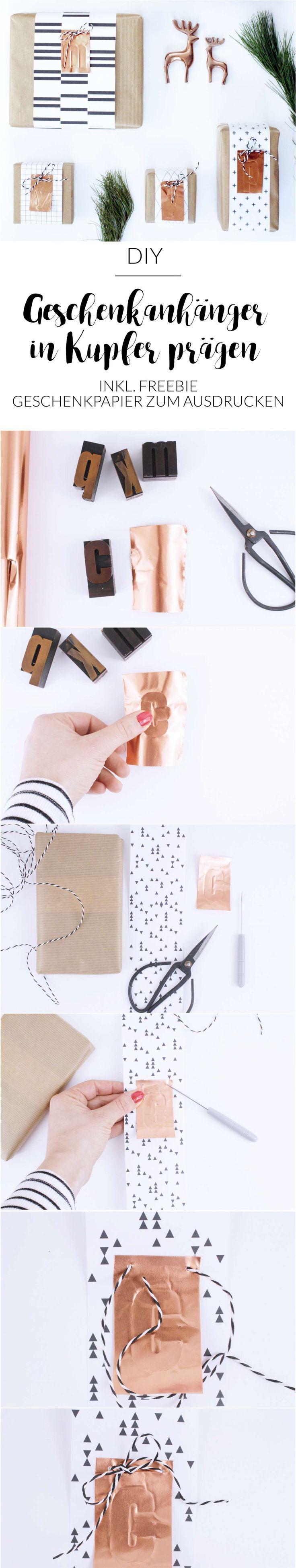 Stilsichere Geschenkverpackung mit Kupfer-Initialen ganz einfach selber machen. Inkl. Freebie mit 6 Geschenkpapieren in schwarz / weiß.