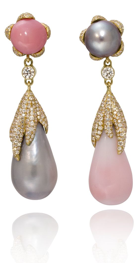 f4f3920e6 Grey Pearl and Pink Conch Pearl Drop Earrings | Earrings in 2019 ...