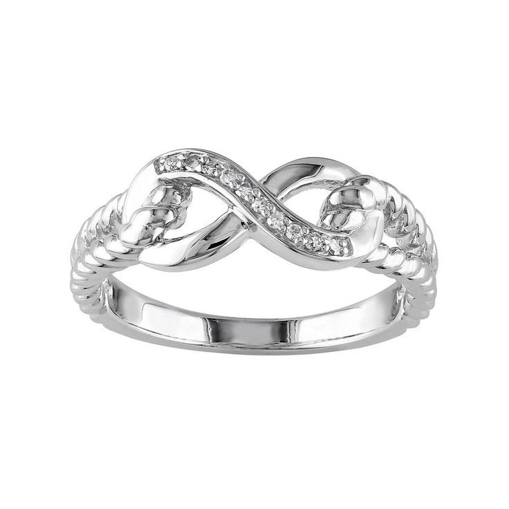 Sterling Silver Diamond Accent Infinity Ring, Women's, Size: 7, White
