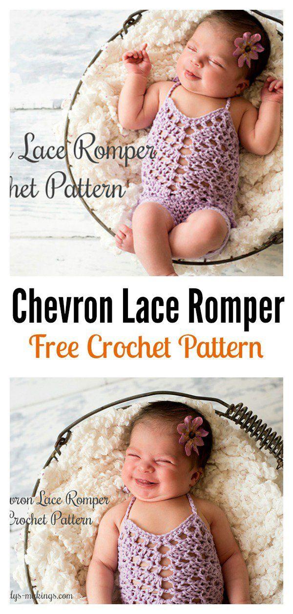 Chevron Lace Romper Padrão de Crochet Livr