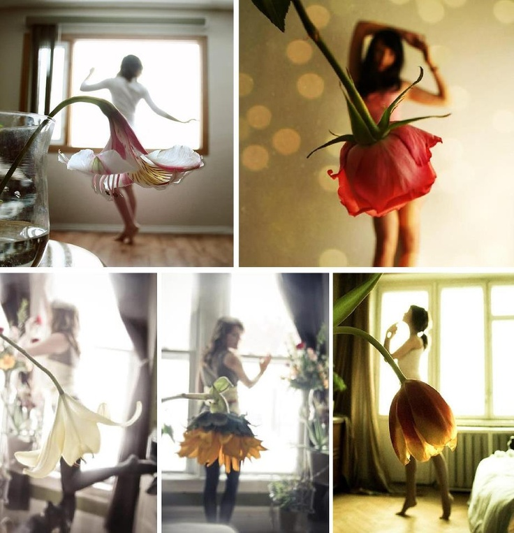 Flower dresses. Forced Perspective Photography [from: Viralmente]