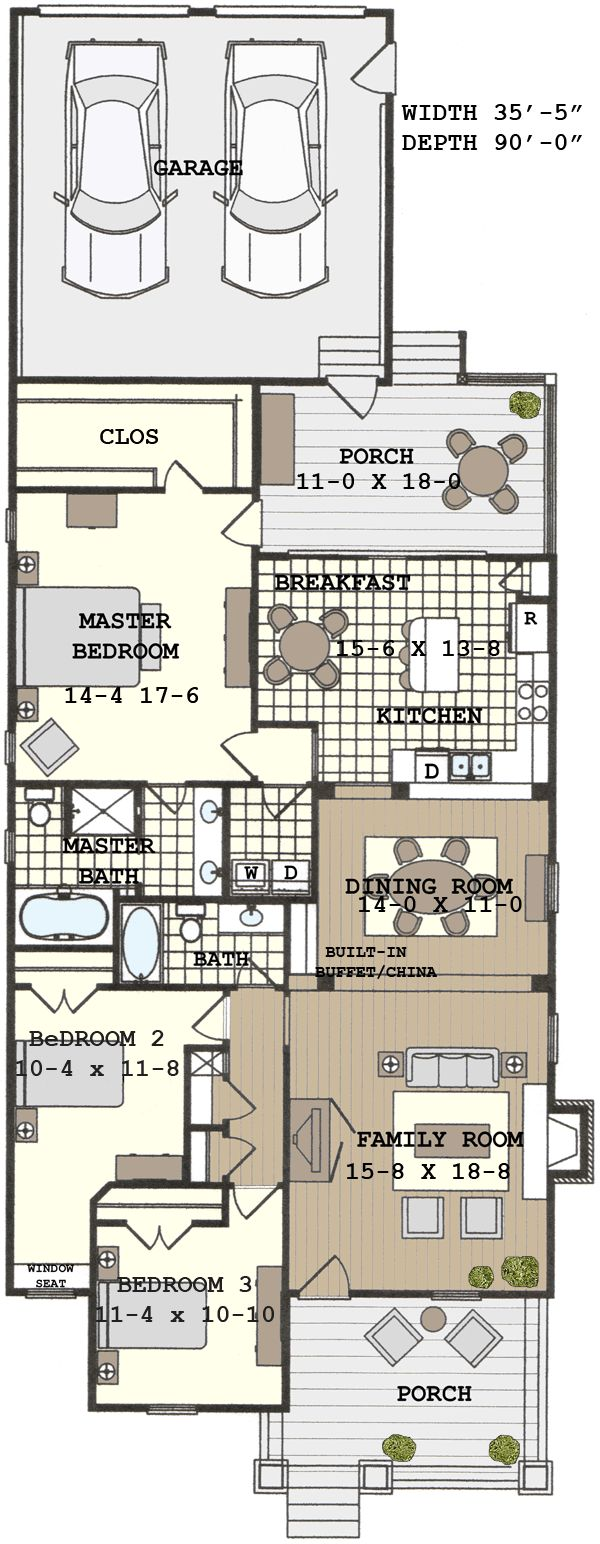 Best 25 narrow house plans ideas on pinterest for Shotgun home floor plans