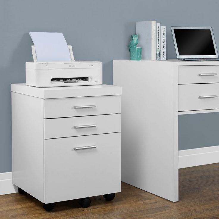 Monarch 26 in. File Cabinet with 3 Drawers - Sleek style and high function come together with the Monarch 26 in. File Cabinet with 3 Drawers. This chic filing cabinet is constructed of durable en...