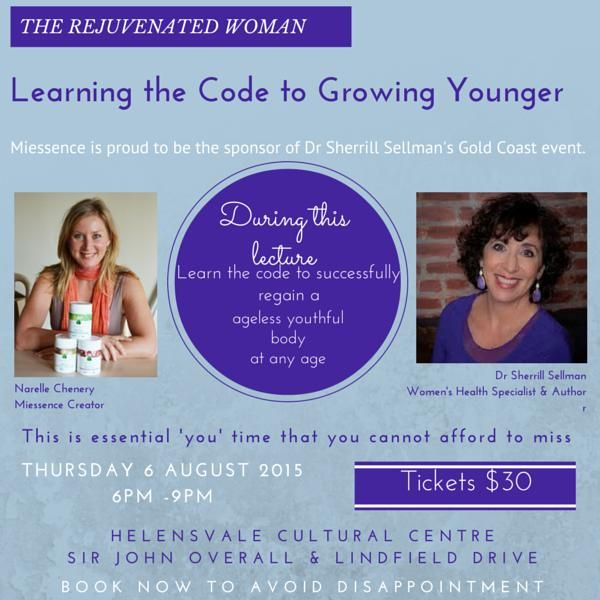 If are a woman between the age of 35 and 80 and care about your health, you don't want to miss out on this rare opportunity to meet Dr Sherrill Sellman next month.  I'm so excited about what this woman has to share, I've dropped everything to create and event on the Gold Coast where you can personally meet her.