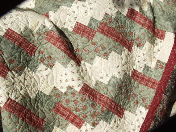 Handmade Old Fashioned Log Cabin Quilt For Sale Click On
