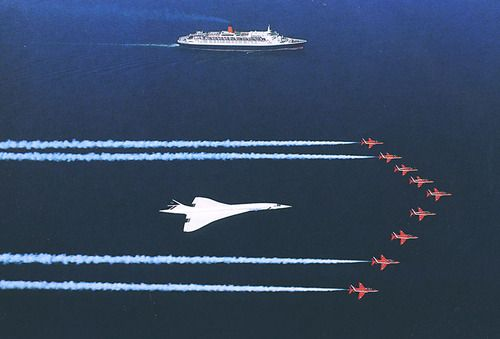 Concorde, QEII, and the Red Arrows. ( hope this floats your boat ? )