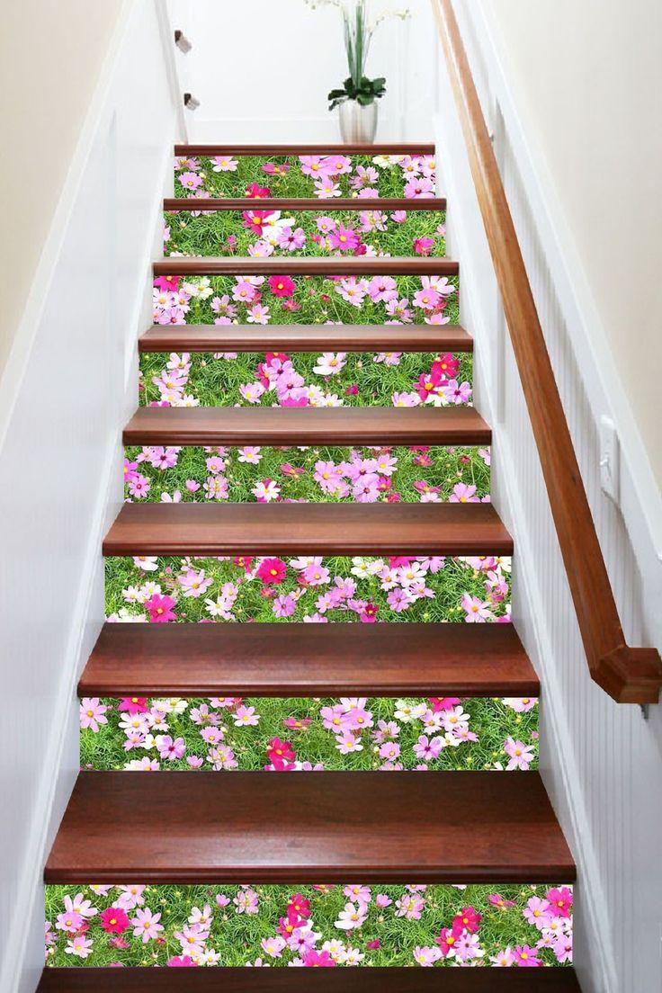 3D Grassland Flowers 1417 Stair Risers AJ Wallpaper