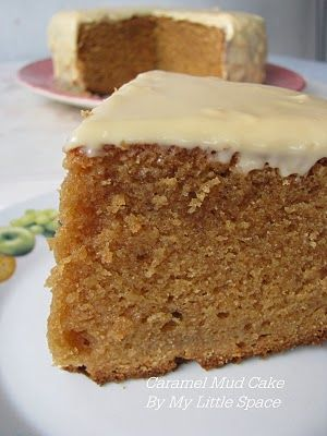 Caramel Mud Cake -  250gm butter 1-1/2 cup brown sugar 150gm white chocolate, chopped 200ml milk 2 eggs, lightly beaten 2 cups flour 3 tspn baking powder