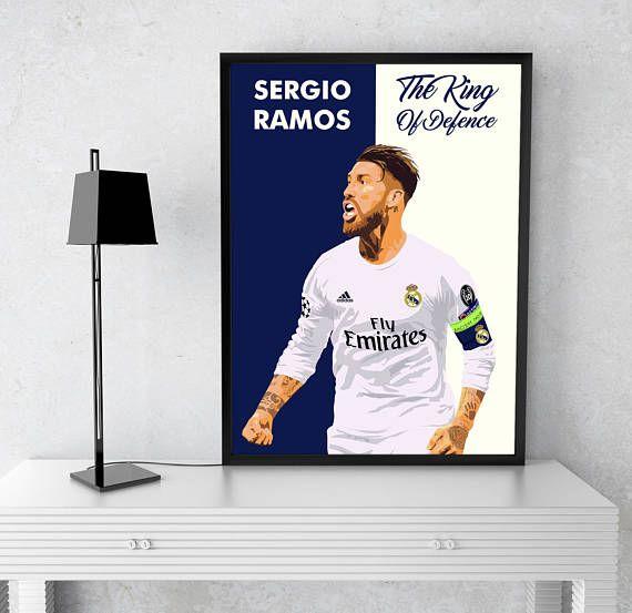 Sergio Ramos Real Madrid Poster Spain Hala Madrid Vamos Real Cristiano Ronaldo Zidane Captain Soccer Bale La Liga Galacticos Wall art Decor