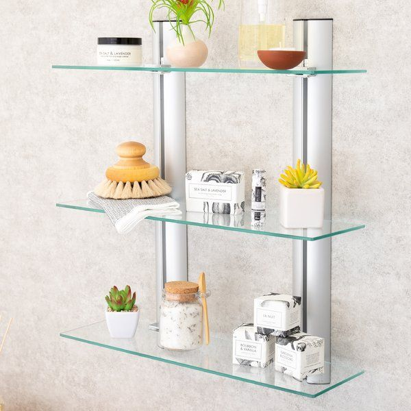 Jad 3 Tier 19 7 W X 22 6 H Wall Mounted Shelving Glass Wall Shelves Wall Mounted Shelves Bathroom Shelves