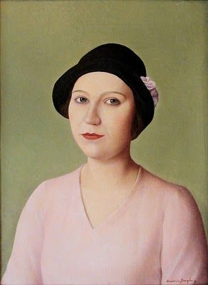 1931 Antonio Donghi (Italian Painter, 1897-1963), Portrait of a Woman in Hat,It's About Time: The somber, even angry, Women of the Depressed 1930s
