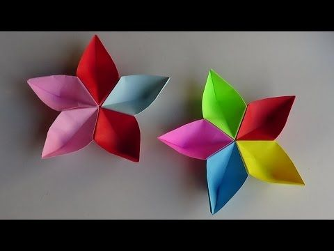 Simple origami flower How to make simple origami flower very easy - YouTube