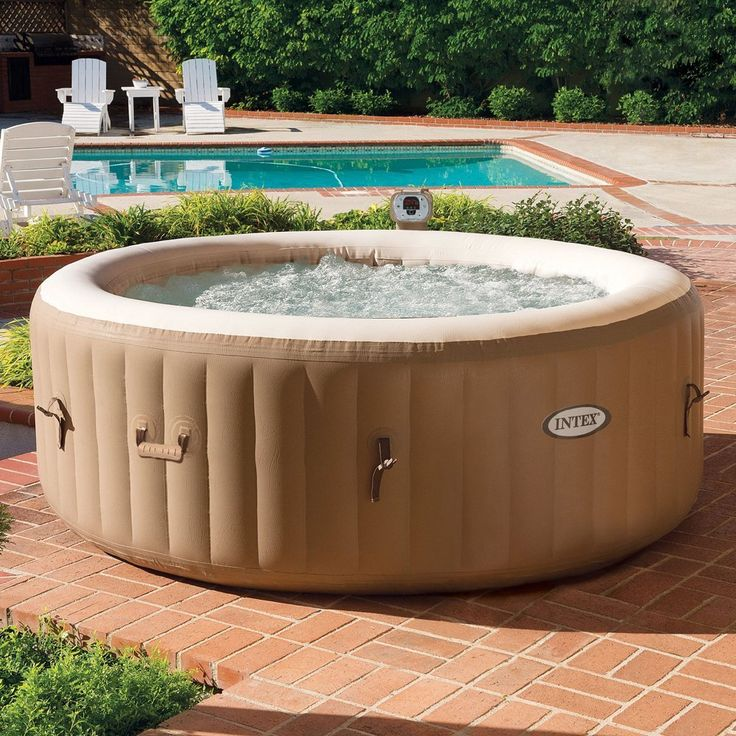 Intex 77in PureSpa Portable Bubble Massage Spa Set Includes: Heating system, 3-way test strip, 2 filter cartridges, floating pool chlorine dispenser, thermal ground cloth, inflation hose, carry bag Seating capacity: 4 people; Water capacity: 210 gallons; Water temperature range (68 Degrees - 104 Degrees)