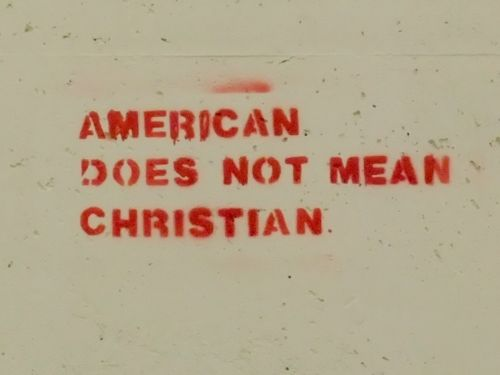 """I am a Christian and I agree. When it says """"separation of church and state"""" it was created because of what was going on in England*it flip flopped to whoever was in charge* (1 reason why they left)  - you had to be a Christian/Catholic or your were dead.. I believe this line has been crossed way too many times. Every time they use my God to justify their crap it angers me so much."""