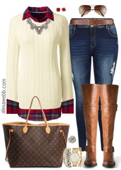 Plus Size Plaid Flannel & Sweater