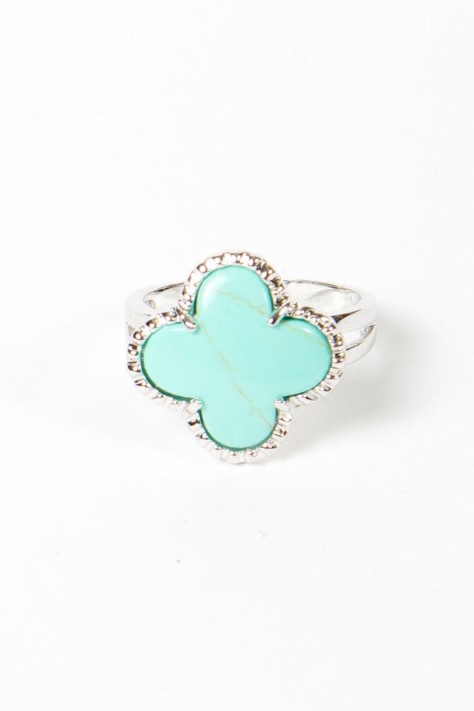 turquoise quatrefoil ring for bridesmaids