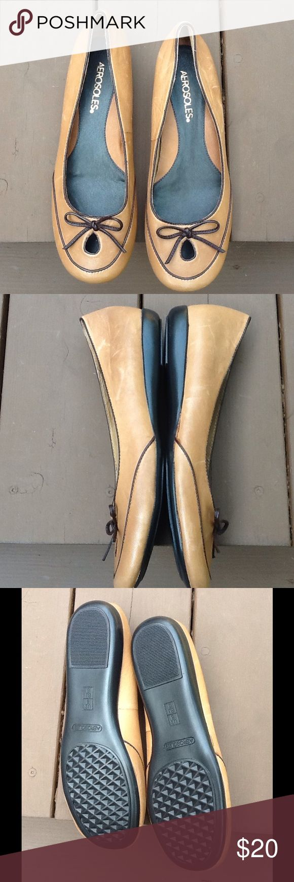 """Aerosoles Prinz Charming Ballet Flats Tan/brown Tan ballet flats with brown trim. Size 8M. Leather upper, synthetic sole.  New and never worn. Leather has a slight """"worn"""" look. AEROSOLES Shoes Flats & Loafers"""