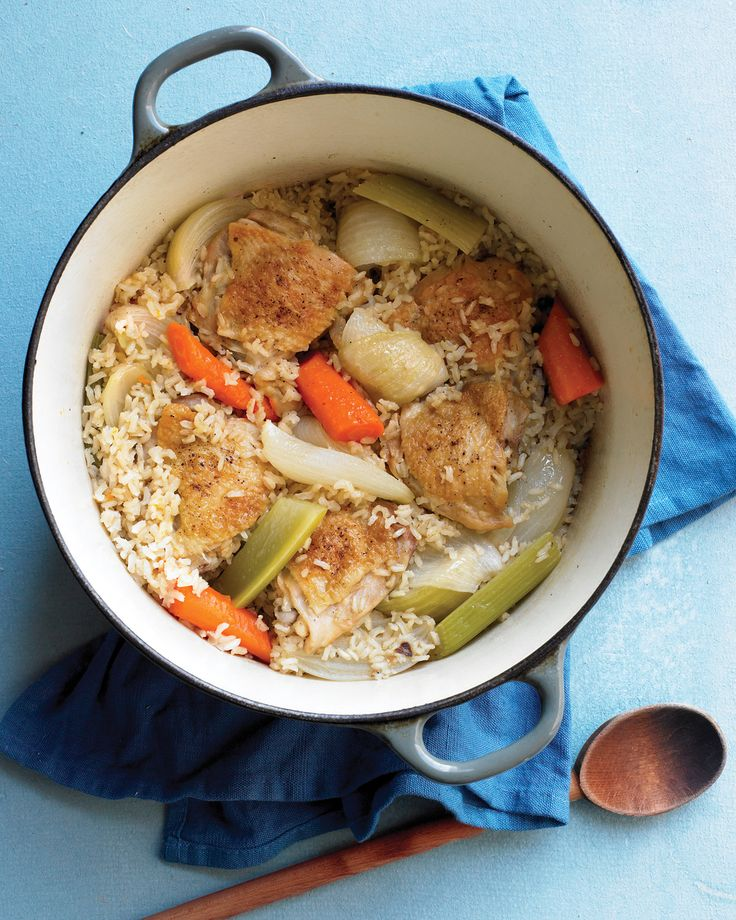 One-Pot Chicken and Brown Rice   Martha Stewart Living - A great dish for the whole family, this all-in-one meal is a smart way to use up the vegetables you probably already have on hand.