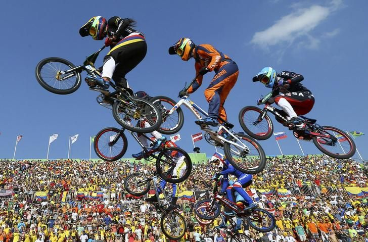 2016 Rio Olympics - Cycling BMX - Final - Women's BMX Final - Olympic BMX Centre - Rio de Janeiro, Brazil - 19/08/2016. Mariana Pajon (COL) of Colombia leads the race. REUTERS/Paul Hanna TPX IMAGES OF THE DAY FOR EDITORIAL USE ONLY. NOT FOR SALE FOR MARKETING OR ADVERTISING CAMPAIGNS.