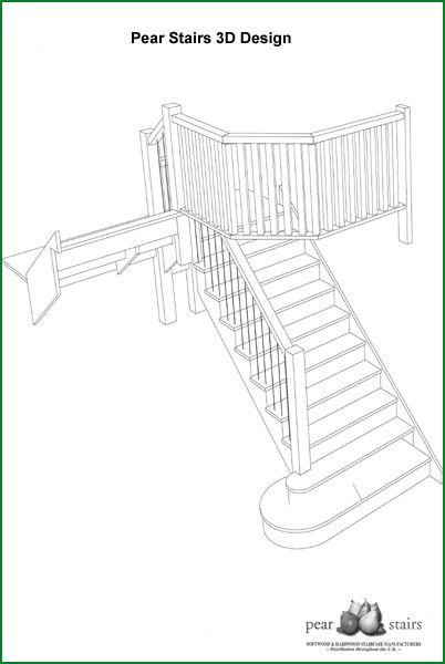 Oak Cut-String Staircase - 3D Design
