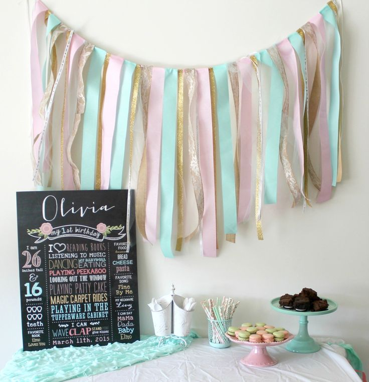 Easy DIY ribbon garland. This will take you an hour to do and is perfect for a birthday party